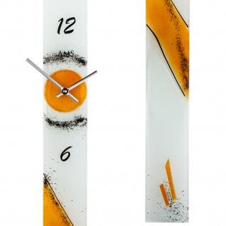 AMS 9373 Wanduhr Quarz analog orange modern schmal länglich Handarbeit - Vorschau 2