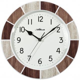 Atlanta 6126/3 Küchenuhr Wanduhr Küche Quarz analog Holz-Optik beige braun
