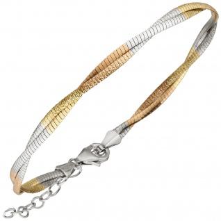 Armband 925 Sterling Silber tricolor dreifarbig vergoldet 23 cm
