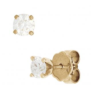 Ohrstecker rund 585 Gold Gelbgold 2 Diamanten Brillanten 1, 0ct. Ohrringe