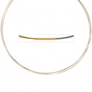 Halsreif 5-reihig bicolor vergoldet 42 cm Halskette Kette Silberkette Statement