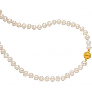 Collier Perlenkette mit Süßwasser Perlen 45 cm Schließe 925 Silber vergoldet
