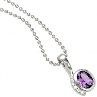 Anhänger 925 Sterling Silber rhodiniert mit Zirkonia lila violett - Vorschau 4