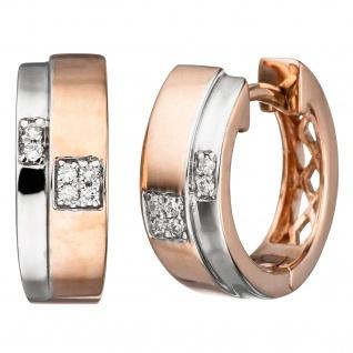 Creolen 585 Gold Rotgold bicolor 12 Diamanten Brillanten Ohrringe Diamantcreolen