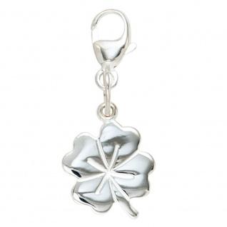 Einhänger Charm Kleeblatt 925 Sterling Silber rhodiniert Glücksbringer