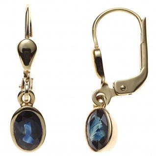 Boutons oval 585 Gold Gelbgold 2 Safire blau Ohrringe Ohrhänger Goldohrringe