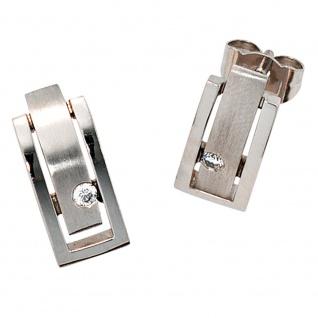 Ohrstecker eckig 950 Platin matt 2 Diamanten Brillanten 0, 10ct. Ohrringe