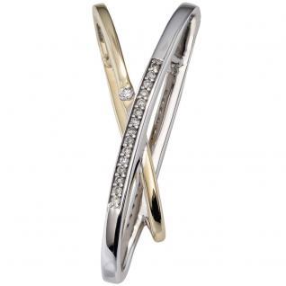 Anhänger 585 Gold Gelbgold bicolor 16 Diamanten Brillanten Diamantanhänger