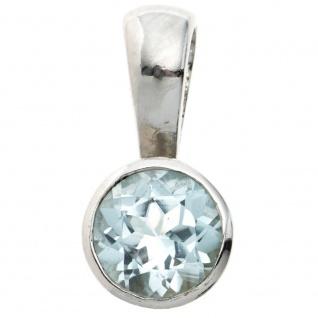 Anhänger rund 925 Sterling Silber rhodiniert 1 Blautopas hellblau blau