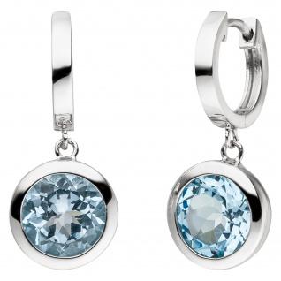 Creolen 925 Sterling Silber 2 Blautopase hellblau blau Ohrringe