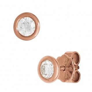 Ohrstecker rund 585 Gold Rotgold 2 Diamanten Brillanten 0, 20ct. Ohrringe