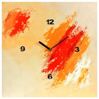 K Edition K1047 Limitierte Designer Wanduhr Quarz Handarbeit Unikat orange