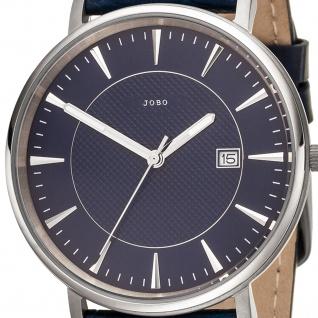 JOBO Herren Armbanduhr Quarz Analog Titan Lederband blau Datum Herrenuhr - Vorschau 2
