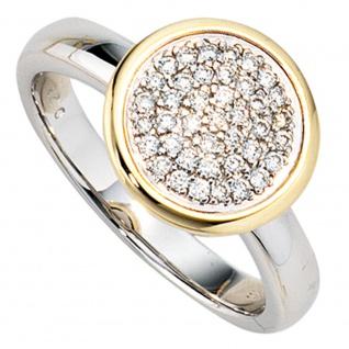 Damen Ring 585 Gold Weißgold Gelbgold bicolor 40 Diamanten Brillanten Goldring - Vorschau 2