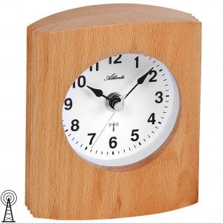 Atlanta 3131 Tischuhr Funk Holz Buche Funkuhr Funktischuhr