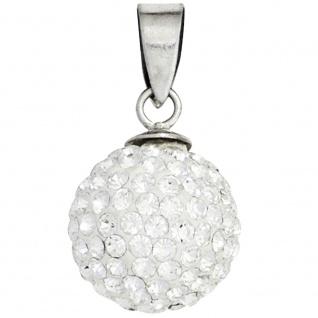 Anhänger Kugel 925 Sterling Silber rhodiniert mit Kristallen