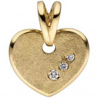 Anhänger Herz 585 Gold Gelbgold eismatt 3 Diamanten Brillanten Herzanhänger