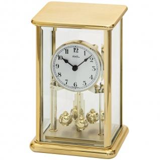 AMS 1211 Tischuhr mit Drehpendel Jahresuhr Drehpendeluhr messing farben golden