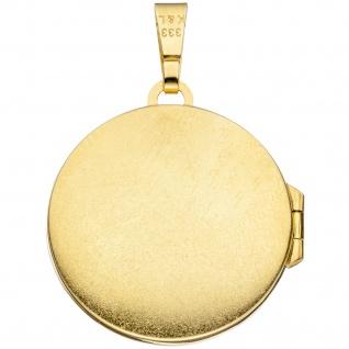 Medaillon rund 333 Gold Gelbgold mattiert 1 Zirkonia Anhänger zum Öffnen - Vorschau 2