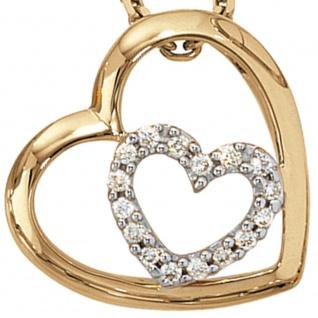 Anhänger Herz 585 Gold Gelbgold 16 Diamanten Brillanten 0, 12ct. Herzanhänger - Vorschau 2