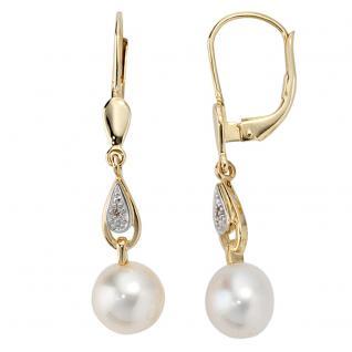 Boutons 585 Gold Gelbgold 2 Diamanten 2 Süßwasser Perlen Ohrringe Ohrhänger