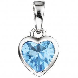 Kinder Anhänger Herz 925 Sterling Silber 1 Kristall blau hellblau Kinderanhänger