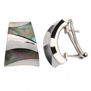 Halbcreolen 925 Sterling Silber mit Perlmutt Einlagen Ohrringe Creolen