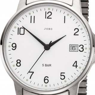 JOBO Herren Armbanduhr Quarz Analog Edelstahl Flexband Herrenuhr mit Datum - Vorschau 2