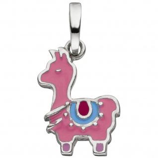 Kinder Anhänger Lama 925 Sterling Silber rosa lackiert
