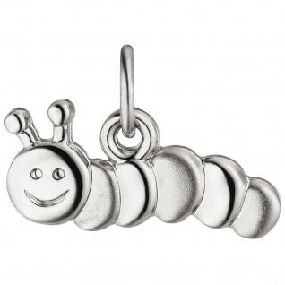 Kinder Anhänger Raupe 925 Sterling Silber teil matt Kinderanhänger