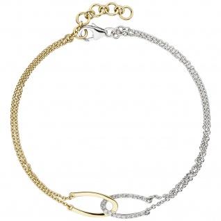 Armband 2-reihig 585 Gold Gelbgold Weißgold bicolor 18 Diamanten 19, 5 cm