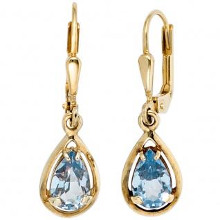 Boutons Tropfen 333 Gold Gelbgold 2 Spinelle hellblau blau Ohrringe Ohrhänger