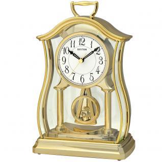 Rhythm 7611/9 Tischuhr Quarz mit Pendel golden Pendeluhr beruhigend langsam