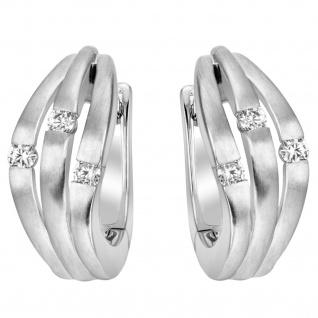 Creolen 585 Gold Weißgold teil matt 6 Diamanten Brillanten Ohrringe