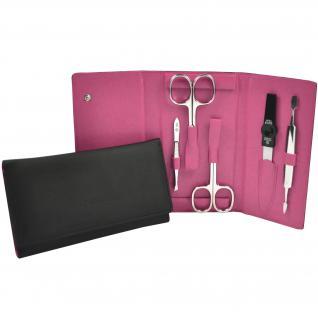 Pfeilring Maniküretui VEGAN schwarz pink 5-teilige Bestückung Maniküre Set