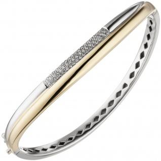 Armreif Armband 585 Gold Gelbgold Weißgold bicolor 55 Diamanten Brillanten