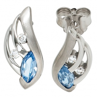 Ohrstecker 925 Sterling Silber mattiert mit Zirkonia hellblau blau Ohrringe