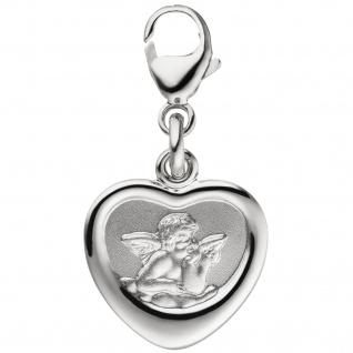 Anhänger Charm Schutzengel 925 Sterling Silber teil matt Herzcharm