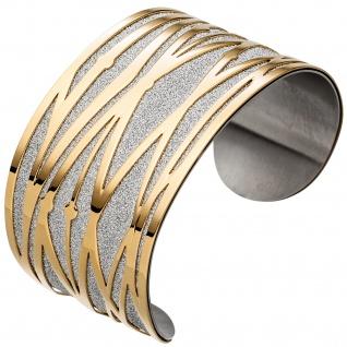 Armspange / offener Armreif Edelstahl breit gelbgold farben beschichtet Armband