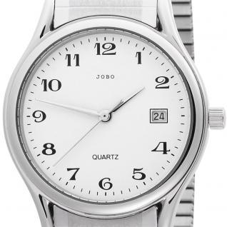 JOBO Herren Armbanduhr Quarz Analog Edelstahl Flexband Datum Herrenuhr - Vorschau 2