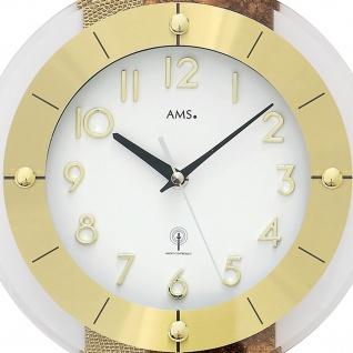 AMS 5272 Wanduhr Funk Funkwanduhr mit Pendel golden Pendeluhr mit Kunstleder - Vorschau 2