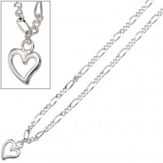 Fußkettchen Fußkette Herz 925 Sterling Silber Federring