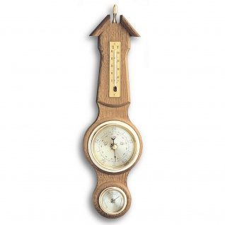 TFA Wetterstation Eiche massiv rustikal, Thermometer, Barometer, Hygrometer