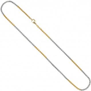 Zopfkette 585 Gelbgold Weißgold bicolor 2, 2 mm 42 cm Gold Kette Goldkette - Vorschau 2