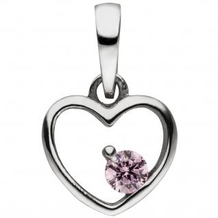 Kinder Anhänger Herz 925 Sterling Silber 1 Zirkonia rosa Herzanhänger
