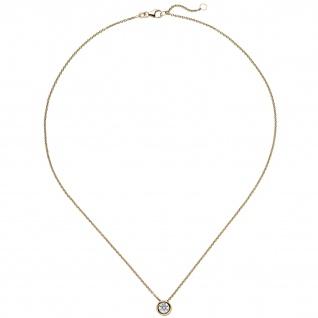 Collier Kette mit Anhänger 585 Gold Gelbgold 1 Diamant Brillant 0, 50 ct. 45 cm - Vorschau 2
