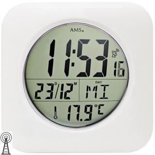 AMS 5930 Wanduhr Tischuhr Baduhr Funk digital weiß wasserdicht Datum Thermometer