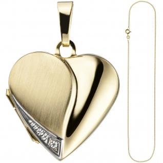 Medaillon Herz Anhänger zum Öffnen für Fotos 333 Gold 1 Zirkonia mit Kette 45 cm - Vorschau 2