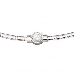 Collier Halskette 925 Sterling Silber 1 Zirkonia 46 cm Kette - Vorschau 3