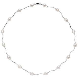 Collier Kette Halskette 925 Silber mit 16 Süßwasser Perlen 44 cm